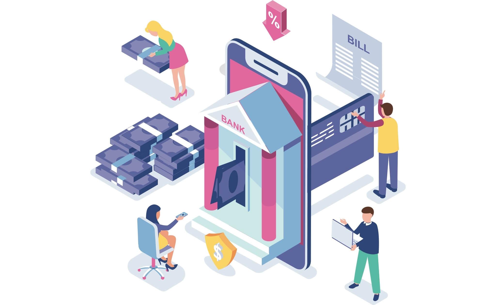 Illustration de la banque en ligne: Accessibilité du site Web pour l'assurance bancaire et financière - les avantages de se conformer