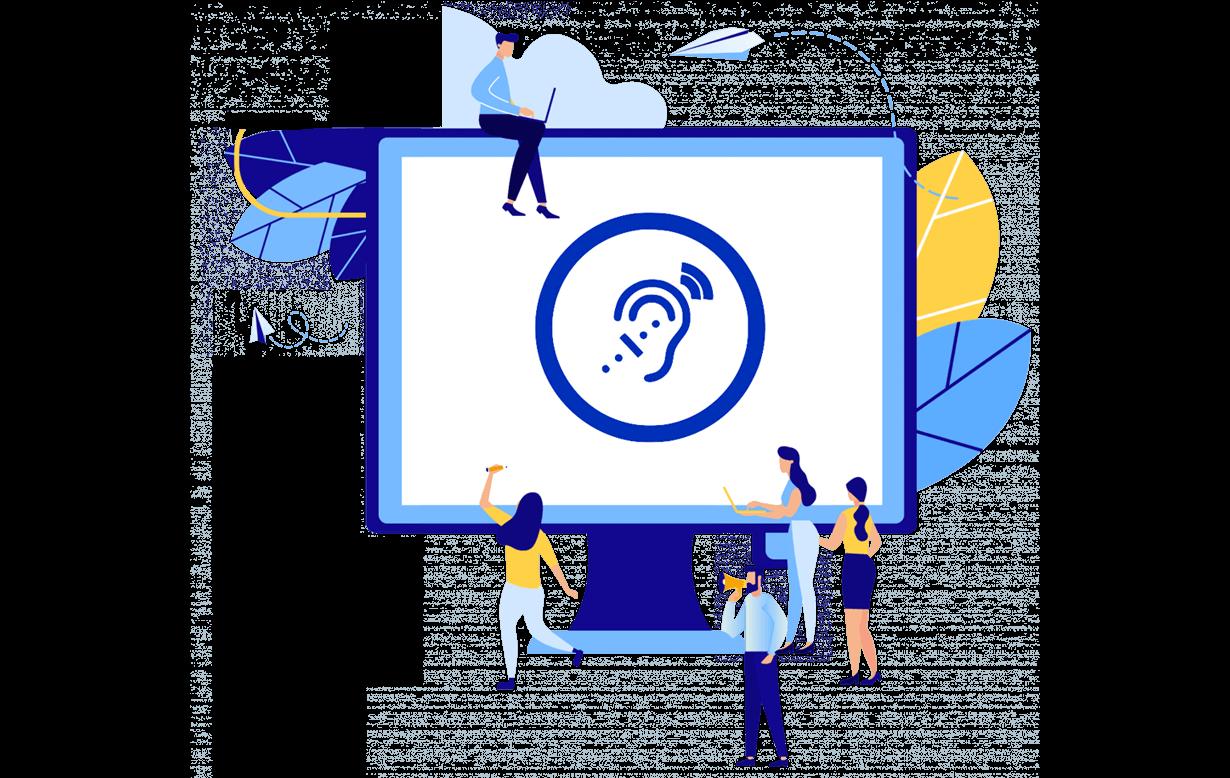Illustration des Computerbildschirms mit Zeichen für Hörbehinderungen