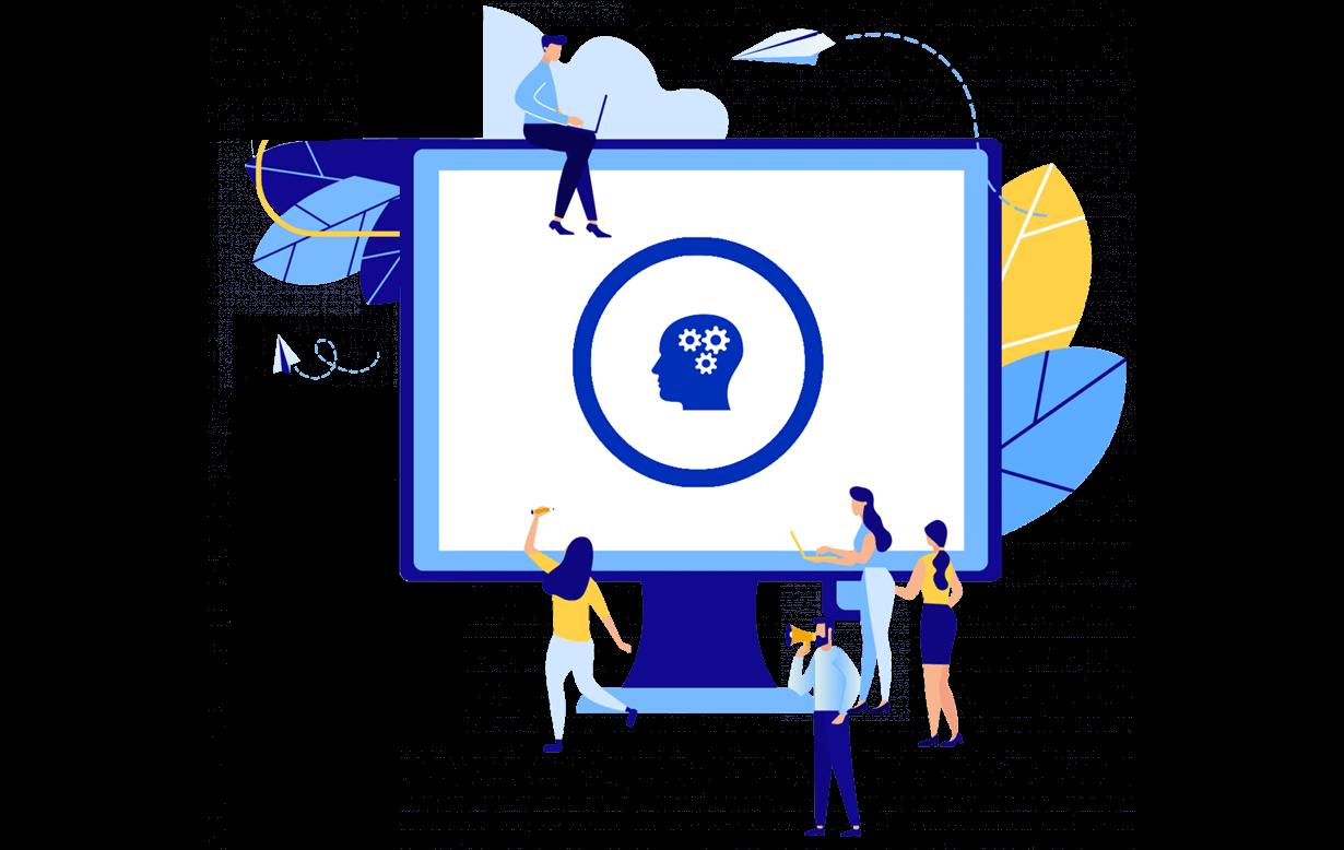 Illustration des Computerbildschirms mit Zeichen für kognitive Behinderungen
