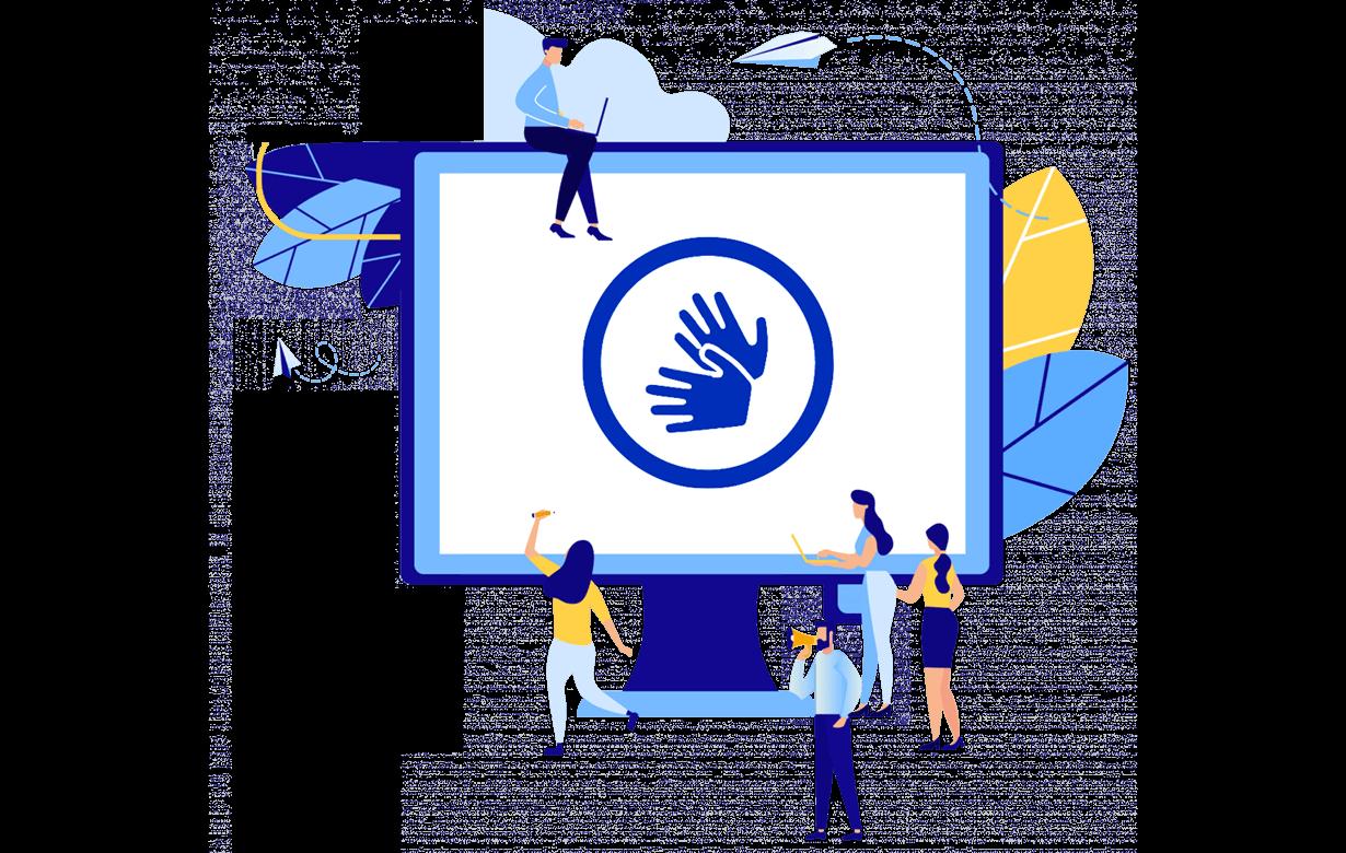Illustration des Computerbildschirms mit Zeichen für körperliche Behinderungen