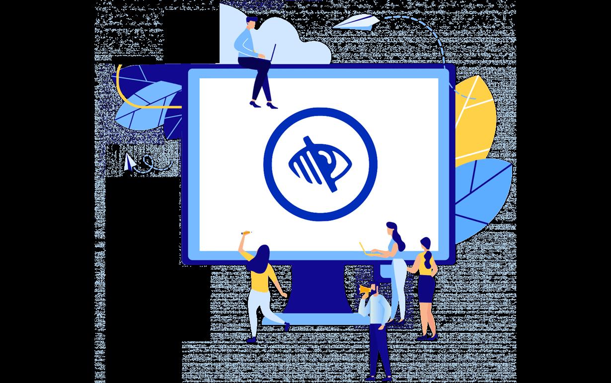 Illustration des Computerbildschirms mit Zeichen für Sehbehinderungen