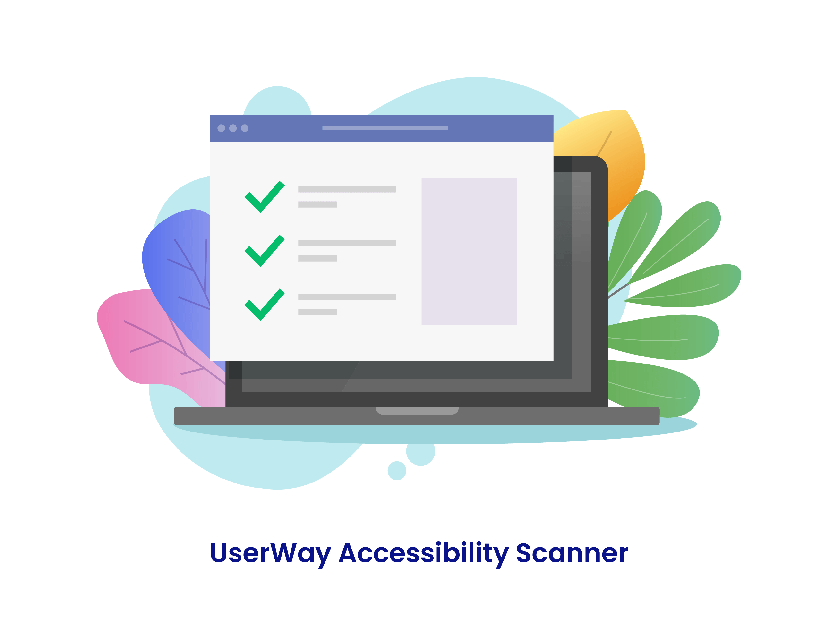 Abbildung des Computerbildschirms mit einer Online-Checkliste mit der Aufschrift: UserWay Accessibility Scanner