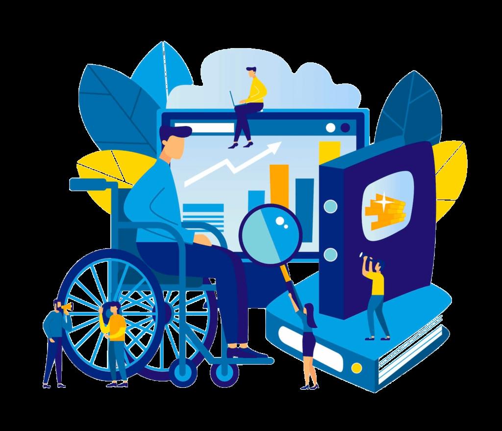 Accessibilità Web - Illustrazione blu che mostra un uomo su una sedia a rotelle davanti a uno schermo